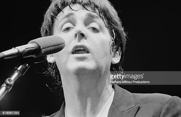 Paul McCartney performs a set at a benefit concert at the Hammersmith Odeon in London for Cambodian refugees Other acts at the event included The Who...