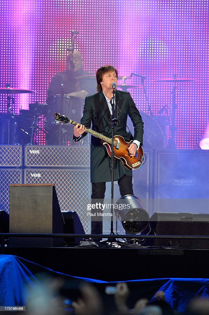 Paul McCartney performs at a sold-out Fenway Park on July 9, 2013 in Boston, Massachusetts.