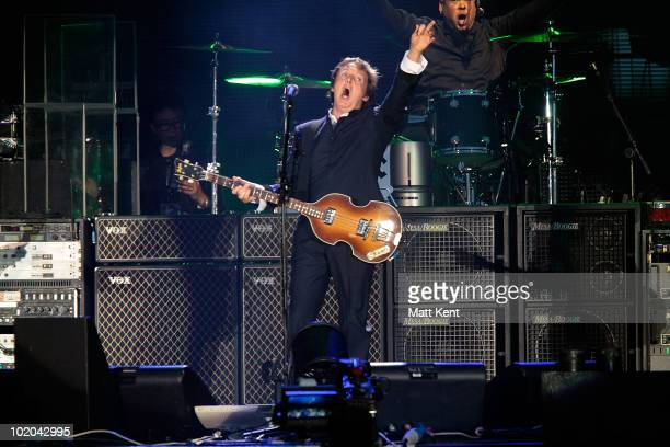 Paul McCartney performs at day 3 of the Isle Of Wight Festival at Seaclose Park on June 13 2010 in Newport Isle of Wight