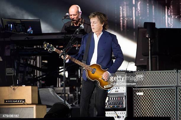 Paul McCartney performs at Roskilde Festival on July 4 2015 in Roskilde Denmark