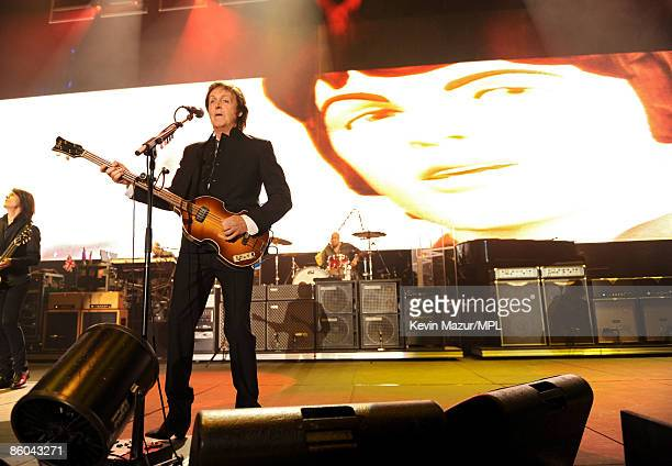 PALM DESERT CA APRIL 17 Paul McCartney performs at the Coachella Music and Arts Festival at the Empire Polo Field on April 17 2009 in Palm Desert...