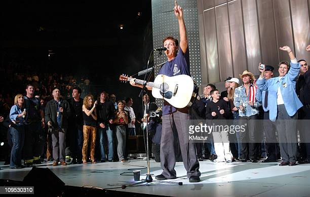 Paul McCartney performs during finale of show during The Concert for New York City Show at Madison Square Garden in New York City New York United...