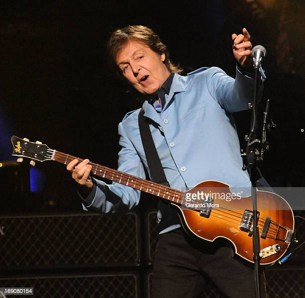 Paul McCartney performs during his Out There tour at Amway Center on May 19 2013 in Orlando Florida