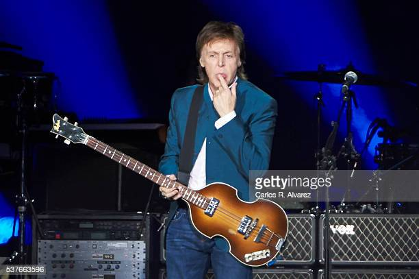 Paul McCartney performs in concert at the Vicente Calderon stadium on June 2, 2016 in Madrid, Spain.