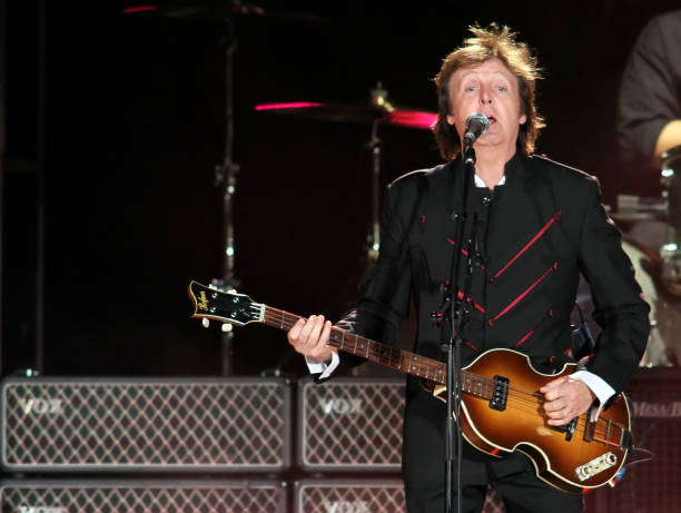 Paul McCartney Performs On Stage At Sun Life Stadium April 3 2010 In Miami