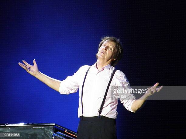Paul McCartney performs on stage on the last day of Hard Rock Calling 2010 at Hyde Park on June 27 2010 in London United Kingdom