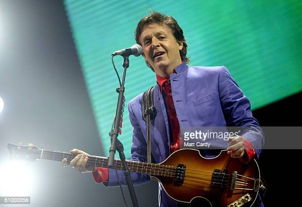 Paul McCartney performs on the Pyramid stage at Worthy Farm, Pilton, Somerset, at the 2004 Glastonbury Festival June 26, 2004. The festival spans...