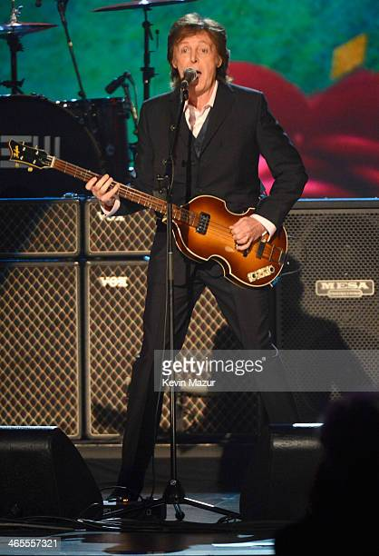 Paul McCartney performs onstage at The Night That Changed America A GRAMMY Salute To The Beatles at Los Angeles Convention Center on January 27 2014...