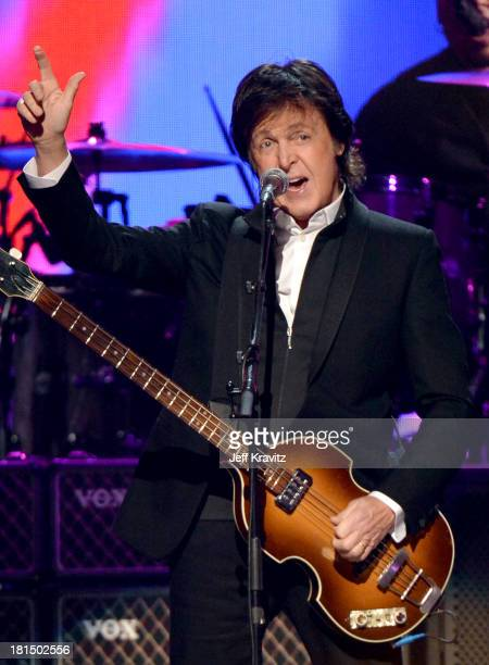 Paul McCartney performs onstage during the iHeartRadio Music Festival at the MGM Grand Garden Arena on September 21 2013 in Las Vegas Nevada
