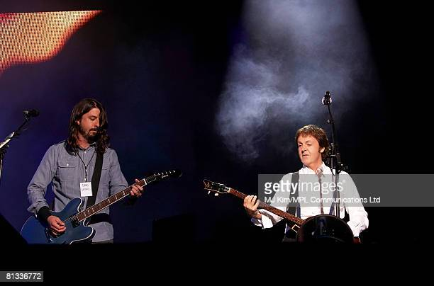 Paul McCartney performs with Dave Grohl during the Liverpool Sound concert held at Anfield Stadium on June 1 2008 in Liverpool England