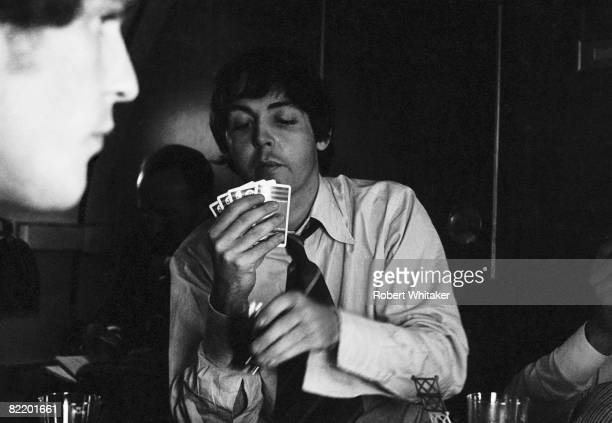 Paul McCartney plays a game of cards during the Philippines leg of the Beatles' final world tour 3rd5th July 1966