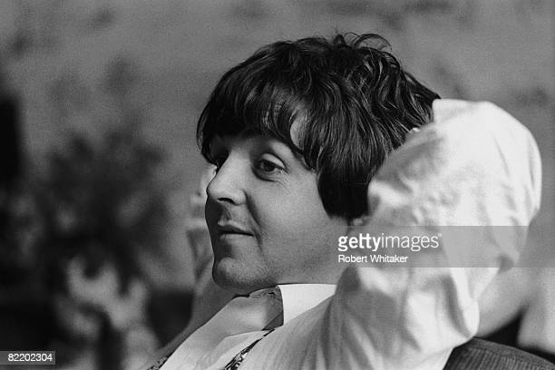 Paul McCartney relaxes after the Beatles' second press conference at the Bayerische Hof Hotel in Munich at the start of the Beatles' final world tour...