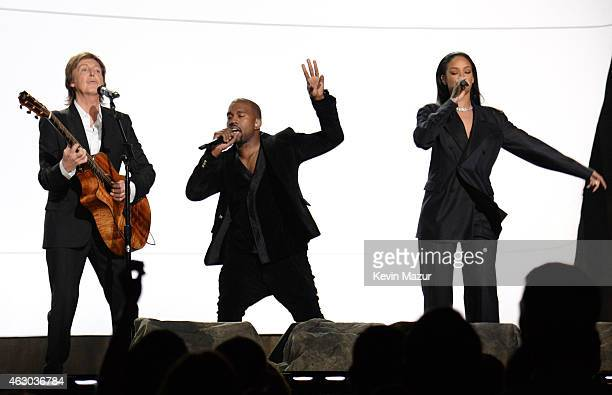 Paul McCartney Rihanna and Kanye West perform onstage during The 57th Annual GRAMMY Awards at the STAPLES Center on February 8 2015 in Los Angeles...
