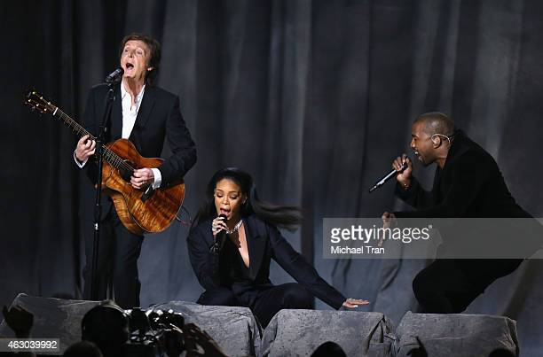 Paul McCartney Rihanna and Kanye West perform onstage during The 57th Annual GRAMMY Awards at STAPLES Center on February 8 2015 in Los Angeles...
