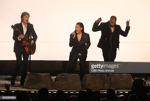 Paul McCartney Rihanna Kanye West perform during The 57th Annual Grammy Awards Sunday Feb 8 2015 at STAPLES Center in Los Angeles and broadcast on...