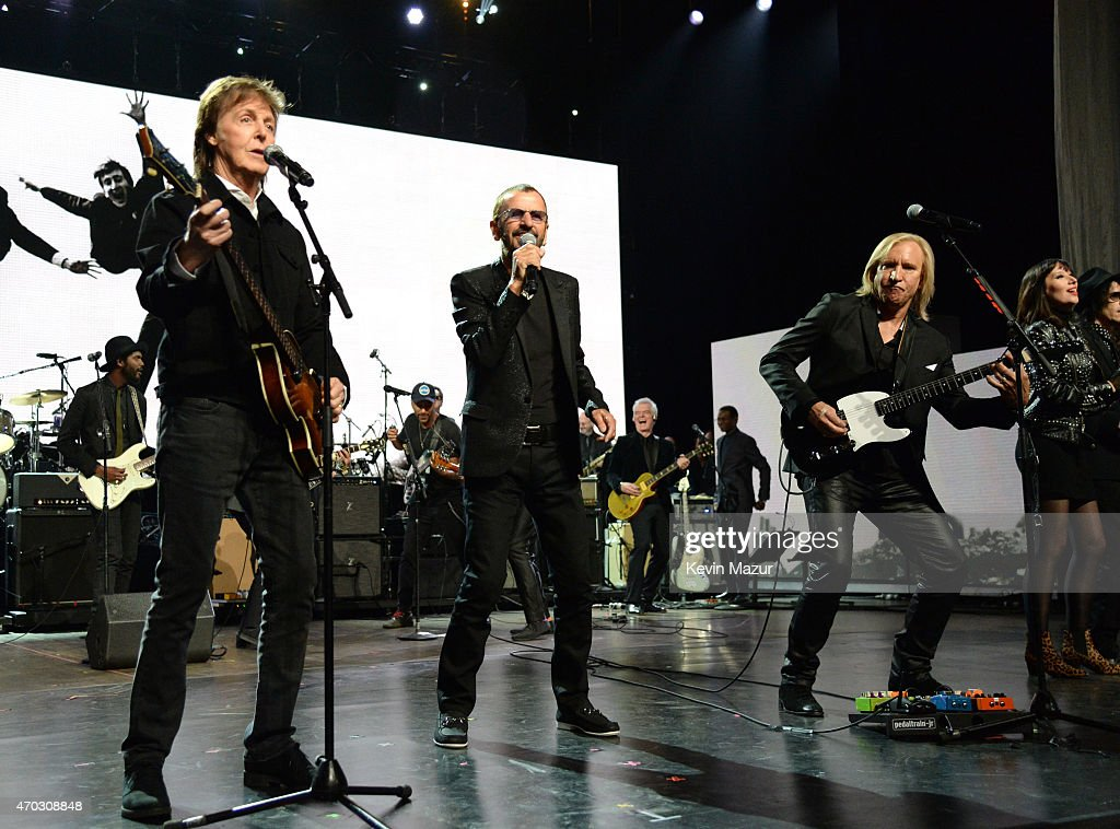 Paul McCartney, Ringo Starr and Joe Walsh perform onstage during the 30th Annual Rock And Roll Hall Of Fame Induction Ceremony at Public Hall on April 18, 2015 in Cleveland, Ohio.