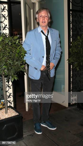 Paul McCartney seen celebrating his birthday with family and friends at La Petite Maison on July 4 2018 in London England