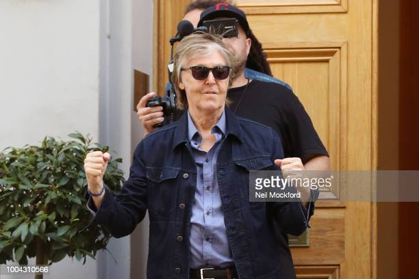 Paul McCartney seen leaving the Abbey Road Studios after performing a secret gig on July 23 2018 in London England