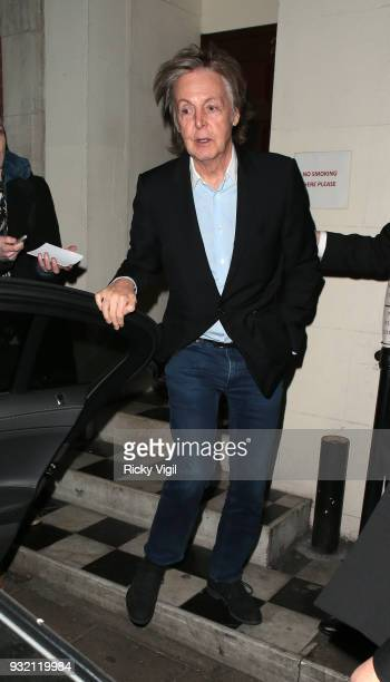 Paul McCartney seen on a night out at Loulou's members club on March 14 2018 in London England