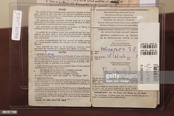 Paul McCartney signed and filled in 1968 Vaccination certificate is displayed at the Gotta Have It Rock Roll Pop Art Auction Press Preview at Rock...