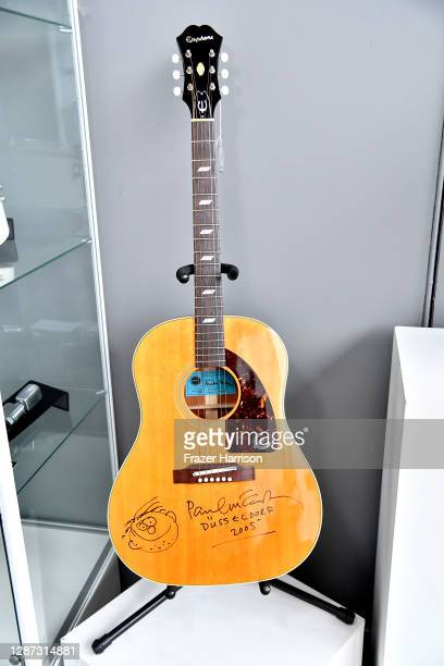 Paul McCartney signed guitar at Julien's Auctions Presents Icons And Idols: Rock 'N' Roll, Hollywood and Sports at Julien's Auctions on November 23,...