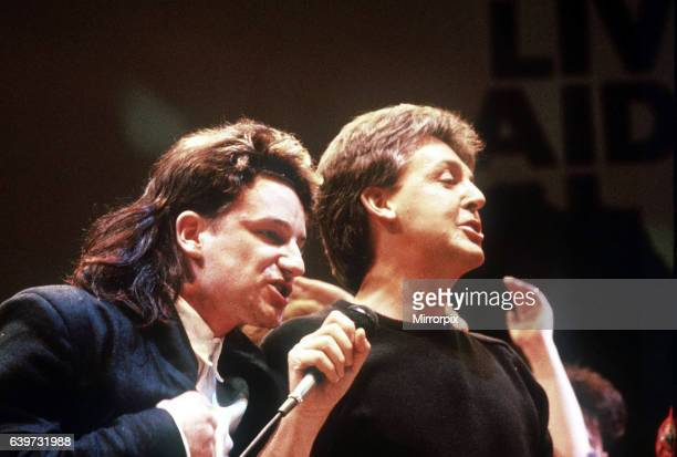 Paul McCartney singer musician and Bono of U2 at the Live aid Concert Wembley