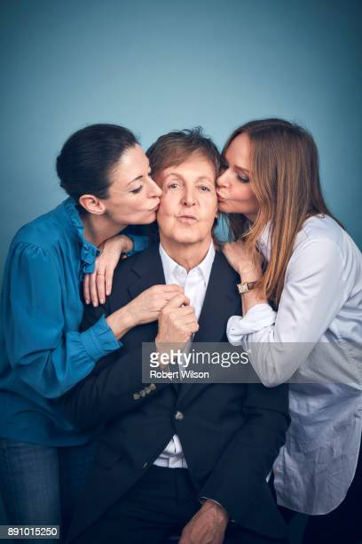 Paul McCartney with his daughters Mary and Stella are photographed for the Times on March 23 2017 in London England