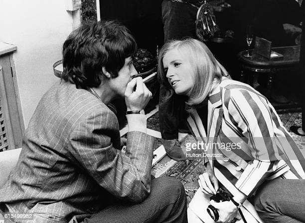 Paul McCartney with his future wife photographer Linda Eastman at the home of the Beatles' manager Brian Epstein 24 Chapel Street London for a press...