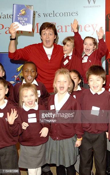Paul McCartney with Year 2 pupils from the Princes Plain Primary School in Bromley