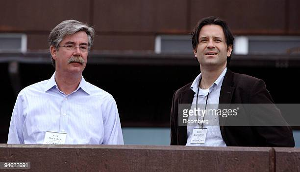 Paul McCulley managing director of Pacific Investment Management Co left and Brian Blackstone of Dow Jones Co take a break outside Jackson Lake Lodge...