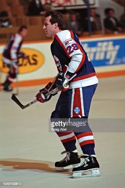 Paul McDermid of the Winnipeg Jets skates against the Toronto Maple Leafs during NHL game action on March 17 1990 at Air Canada Centre in Toronto...
