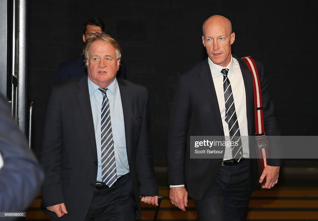Paul McDermott (L), Instructing Solicitor for the Carlton Football Club and Andrew McKay, General Manager Football Operations at the Carlton Football Club arrive ahead of the AFL Tribunal Appeal Hearing into intentional contact with an umpire by Charlie Curnow and his brother Ed Curnow of the Carlton Blues at AFL House on May 17, 2018 in Melbourne, Australia.