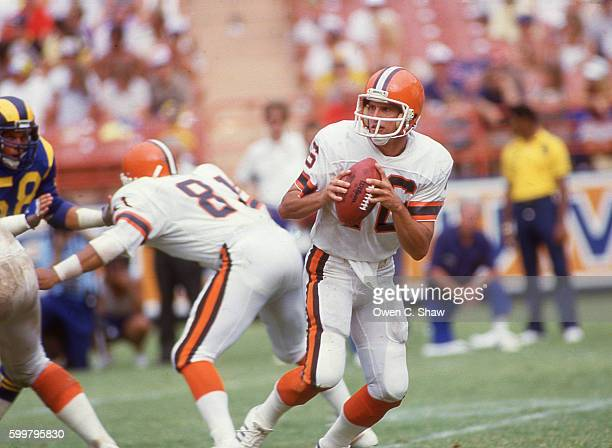 Paul McDonald of the Cleveland Browns circa 1984 drops back to pass against the Los Angeles Rams at Anaheim Stadium in Anaheim California