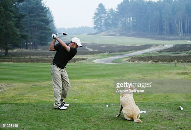 Paul McGinley and his dog Febe at Sunningdale Golf Club Surrey on March 26 2003