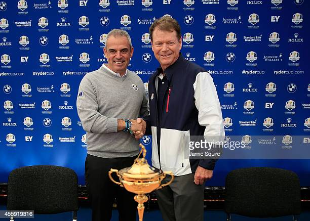 Paul McGinley , Captain of the Europe shakes hands with Tom Watson, Captain of the United States team during a press conference ahead of the 2014...