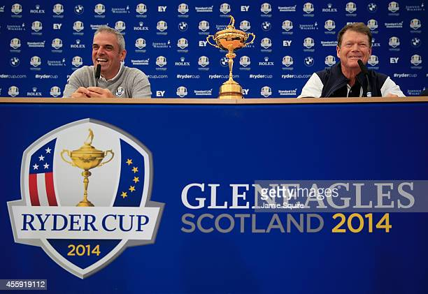 Paul McGinley Captain of the Europe team laughs with Tom Watson Captain of the United States team during a press conference ahead of the 2014 Ryder...