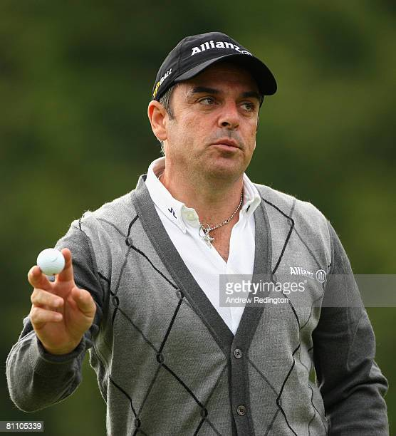 Paul McGinley of Ireland acknowledges the crowd on the 18th hole during the second round of the Irish Open on May 16 2008 at the Adare Manor Hotel...