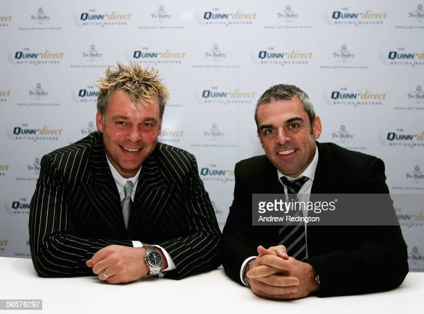 Paul McGinley of Ireland and Darren Clarke of Northern Ireland pose for photographs at The Belfry during the press conference to announce Quinn...