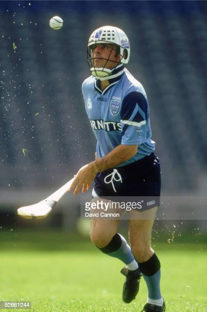 Paul McGinley of Ireland demonstrates Hurling during a feature photoshoot in Croke Park Dublin on July 8 1996 in Dublin Ireland