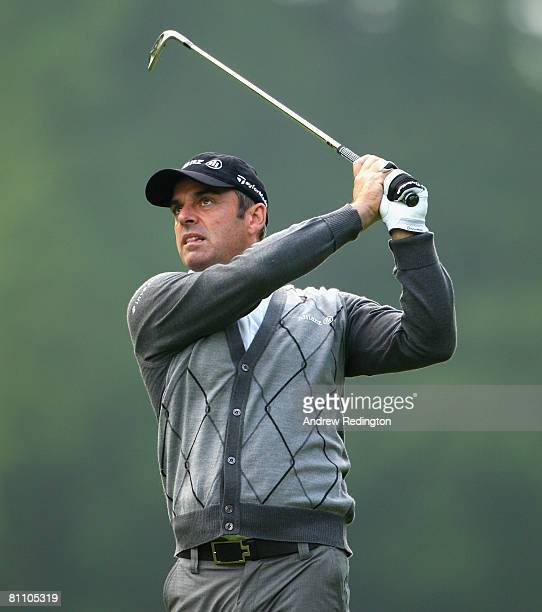 Paul McGinley of Ireland hits his second shot on the 13th hole during the second round of the Irish Open on May 16 2008 at the Adare Manor Hotel and...
