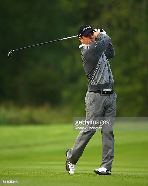 Paul McGinley of Ireland hits his second shot on the 18th hole during the second round of the Irish Open on May 16 2008 at the Adare Manor Hotel and...