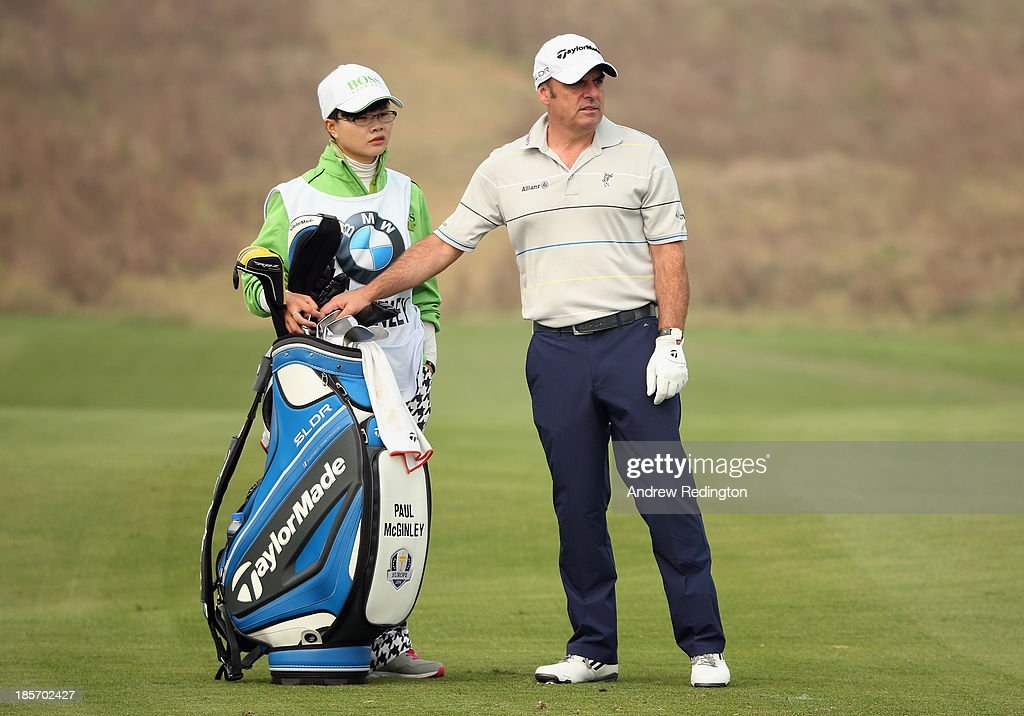 Paul McGinley of Ireland in action during the first round of the BMW Masters at Lake Malaren Golf Club on October 24, 2013 in Shanghai, China.