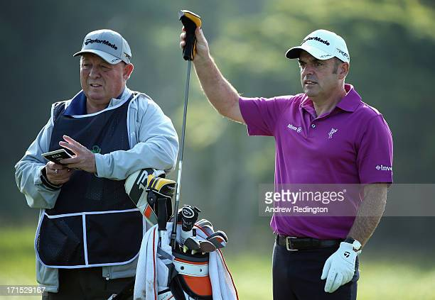 Paul McGinley of Ireland is pictured with his caddie Edinburgh Jimmy Rae during the proam event prior to the start of the Irish Open at Carton House...