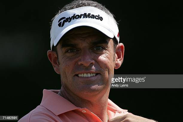 Paul McGinley of Ireland looks on during final practice for The Open Championship at Royal Liverpool Golf Club on July 19 2006 in Hoylake England