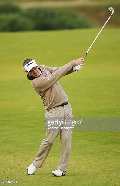 Paul McGinley of Ireland plays his second shot at the 11th Hole during the First Round of The Alfred Dunhill Links Championship at Kingsbarns Golf...