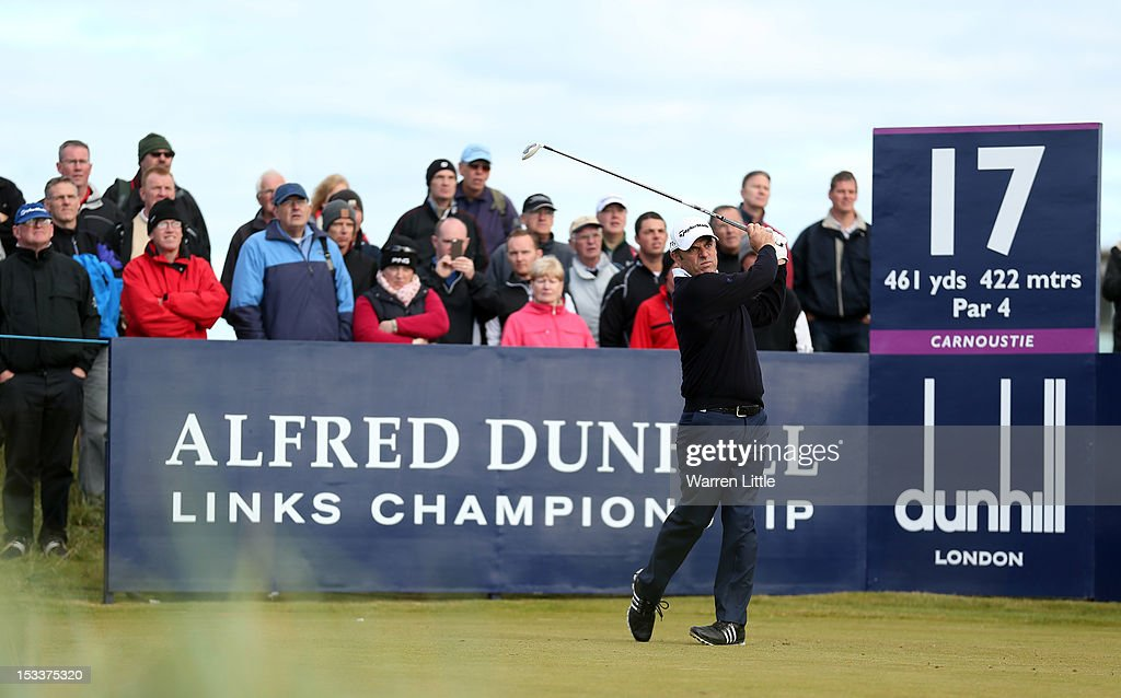 Paul McGinley of Ireland plays off the 17th tee during the first round of The Alfred Dunhill Links Championship at Carnoustie Golf Links on October 4, 2012 in Carnoustie, Scotland.