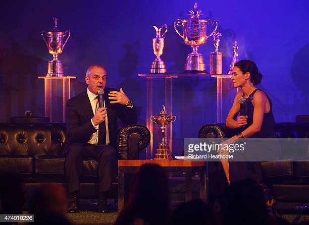Paul McGinley of Ireland takes part in a QA with presenter Kirsty Gallacher during the European Tour Players' Awards ahead of the BMW PGA...
