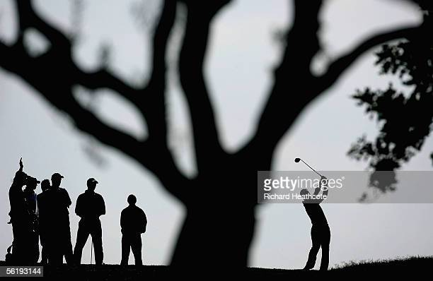 Paul McGinley of Ireland tees off at the 3rd during the first round fourballs of the World Golf Championships Algarve World Cup at Victoria Clube de...