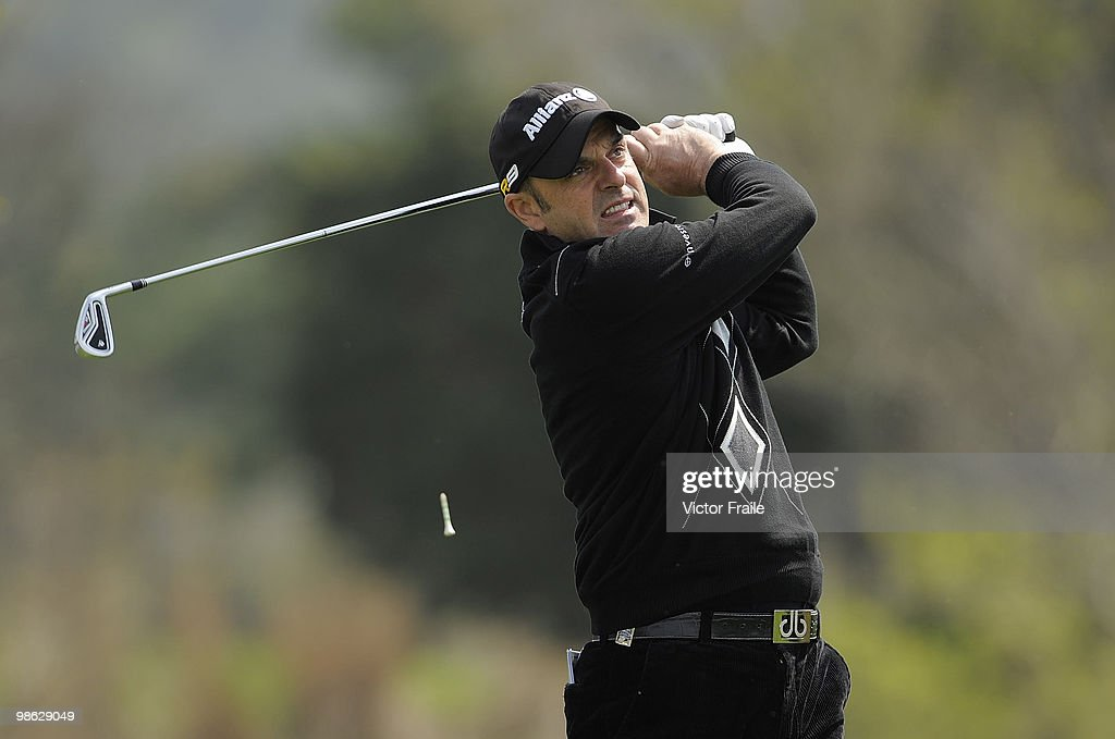 Paul McGinley of Ireland tees off on the 14th hole during the fog-delayed Round One of the Ballantine's Championship at Pinx Golf Club on April 23, 2010 in Jeju island, South Korea.