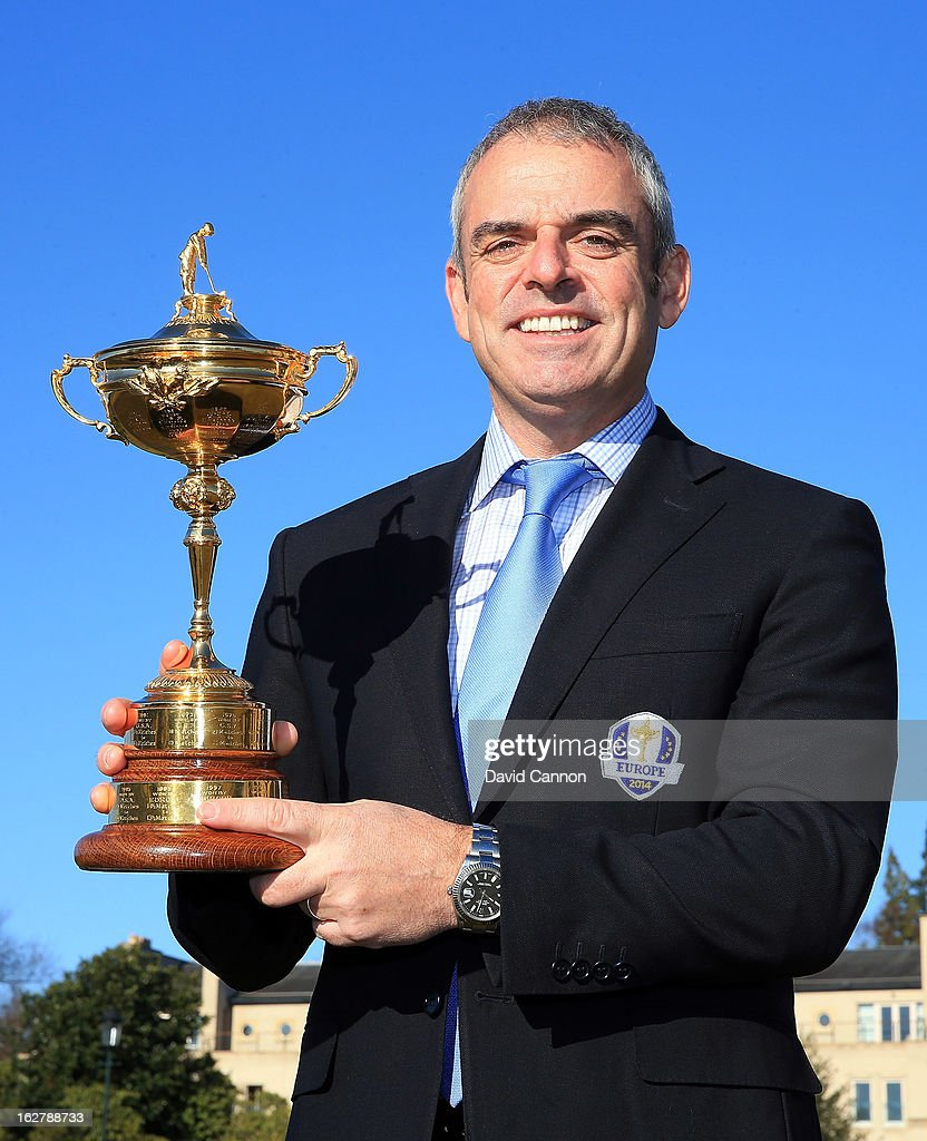 Paul McGinley of Ireland, the 2014 European Ryder Cup Team Captain poses with the Ryder Cup outside the Gleneagles Hotel venue for the 2014 Ryder Cup Matches on February 27, 2013 in Auchterarder, Scotland.